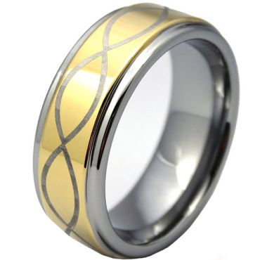 (Wholesale)Tungsten Carbide Infinity Step Edges Ring - TG4144
