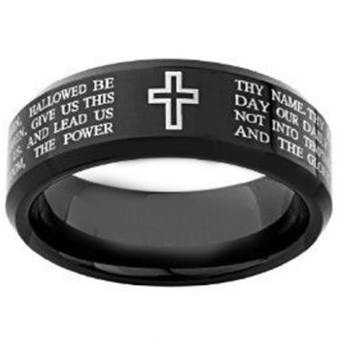 (Wholesale)Black Tungsten Carbide Cross Prayer Ring-4148