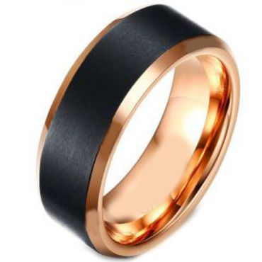 (Wholesale)Tungsten Carbide Black Rose Beveled Edges Ring-4154