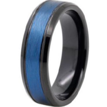 (Wholesale)Tungsten Carbide Black Blue Sandblasted Ring - TG4155