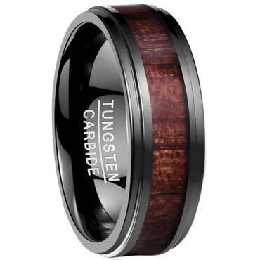 (Wholesale)Black Tungsten Carbide Wood Ring - TG4170