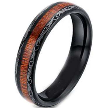 (Wholesale)Black Tungsten Carbide Damascus Wood Ring-TG4173