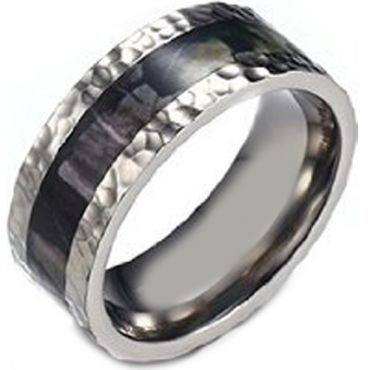 (Wholesale)Tungsten Carbide Hammered Camo Ring - TG4176