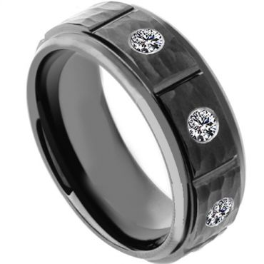 (Wholesale)Black Tungsten Carbide Hammered Ring With CZ - TG4181