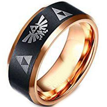 (Wholesale)Tungsten Carbide Black Rose Legend of Zelda Ring-4253