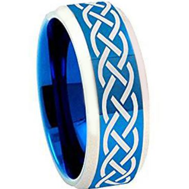 (Wholesale)Tungsten Carbide Celtic Beveled Edges Ring - TG4258AA
