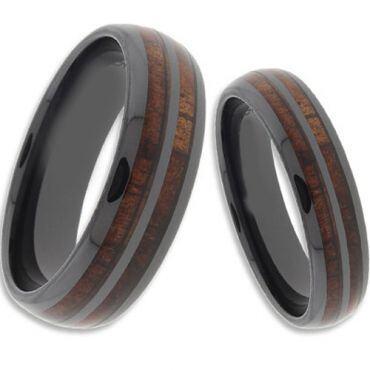 (Wholesale)Black Tungsten Carbide Wood Ring - TG4265