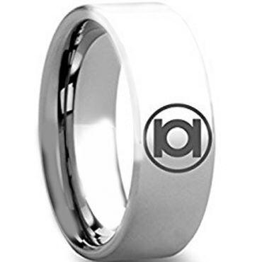 (Wholesale)Tungsten Carbide Pipe Cut Green Lantern Ring - TG4272