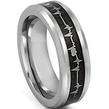 (Wholesale)Tungsten Carbide HeartBeat Carbon Fiber Ring - TG3795