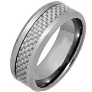 (Wholesale)Tungsten Carbide Ring With Carbon Fiber-TG1383
