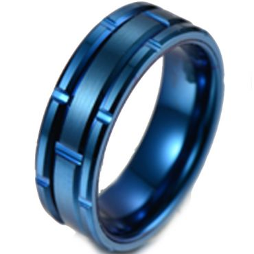 (Wholesale)Tungsten Carbide Brick Pattern Ring - TG4322