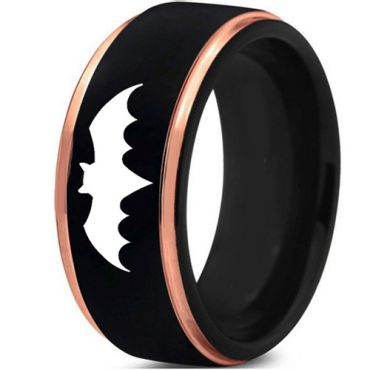 (Wholesale)Tungsten Carbide Batman Black Rose Ring - TG4371