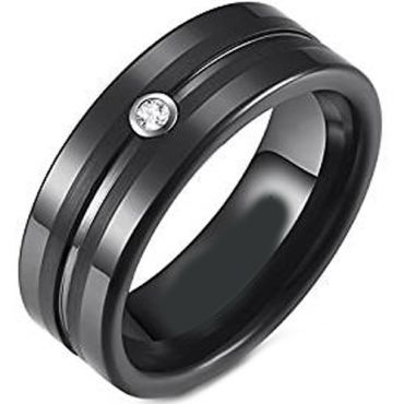 (Wholesale)Black Tungsten Carbide Ring With Cubic Zirconia-4273