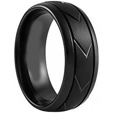 (Wholesale)Black Tungsten Carbide Tire Tread Ring-TG4395
