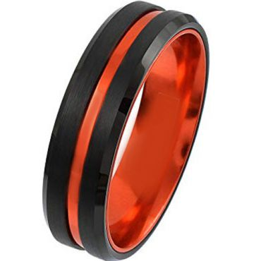 (Wholesale)Black Orange Tungsten Carbide Ring-4395