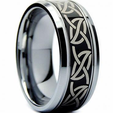 (Wholesale)Tungsten Carbide Beveled Edges Celtic Ring - TG4397