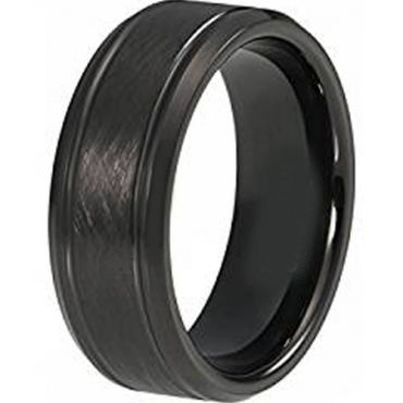 (Wholesale)Black Tungsten Carbide Sandblasted Ring - TG4415