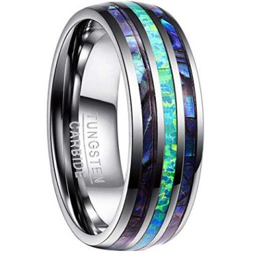 (Wholesale)Tungsten Carbide Imitate Opal Shell Ring-4445
