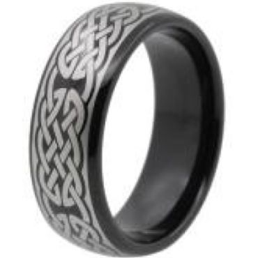 (Wholesale)Black Tungsten Carbide Celtic Dome Ring - TG4448
