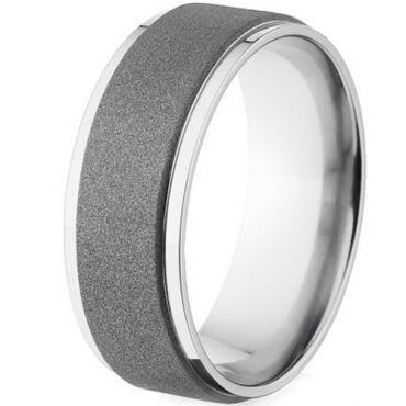 (Wholesale)Tungsten Carbide Sandblasted Ring - TG4514A