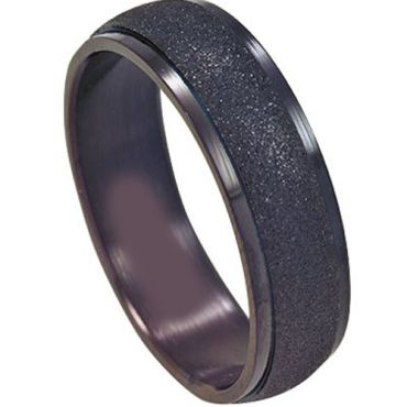 (Wholesale)Black Tungsten Carbide Sandblasted Ring-TG4515