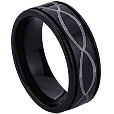 (Wholesale)Black Tungsten Carbide Infinity Ring - TG4534