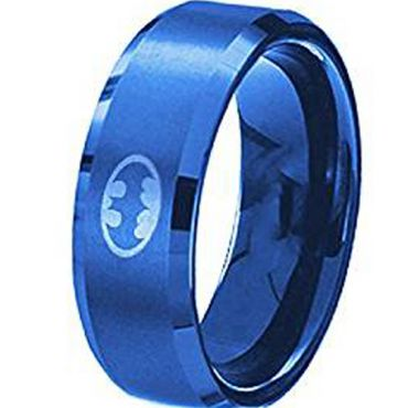 (Wholesale)Tungsten Carbide Batman Beveled Edges Ring - TG4536