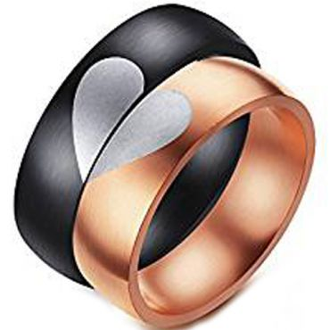 (Wholesale)Tungsten Carbide Dome Heart Ring(Two Rings) - TG4547