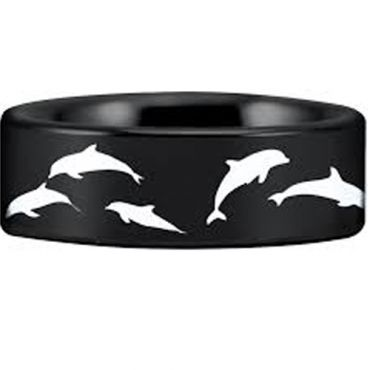 (Wholesale)Black Tungsten Carbide Dolphin Ring - TG4548