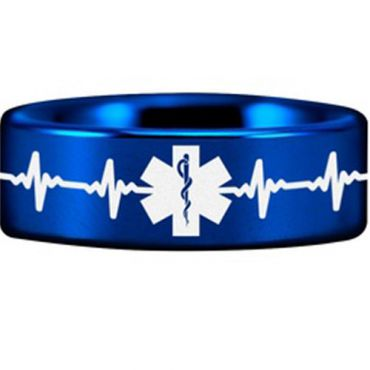 (Wholesale)Tungsten Carbide HeartBeat Medic Alert Ring - TG4551