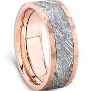(Wholesale)Rose Tungsten Carbide Imitate Meteorite Ring-4563