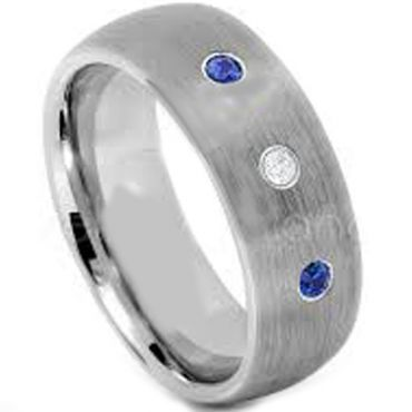(Wholesale)Tungsten Carbide Three Stone Ring-TG4593