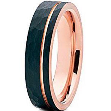 (Wholesale)Tungsten Carbide Black Rose Hammered Ring - TG4617