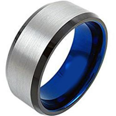 (Wholesale)Tungsten Carbide Black Blue  Beveled Edges Ring-4625