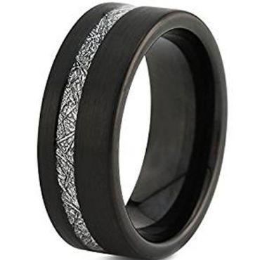 (Wholesale)Black Tungsten Carbide Imitate Meteorite Ring - TG463