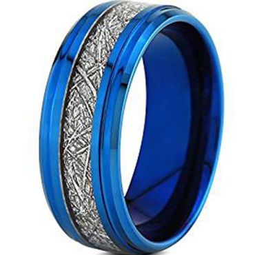 (Wholesale)Blue Tungsten Carbide Imitate Meteorite Ring-4639