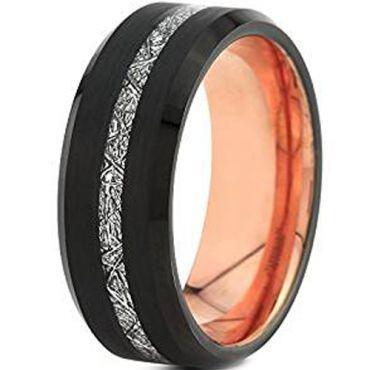 (Wholesale)Tungsten Carbide Black Rose Imitate Meteorite Ring-46