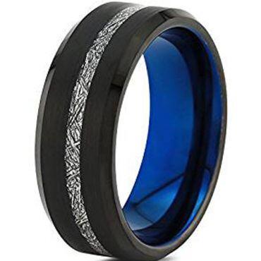 (Wholesale)Tungsten Carbide Black Blue Imitate Meteorite Ring-46