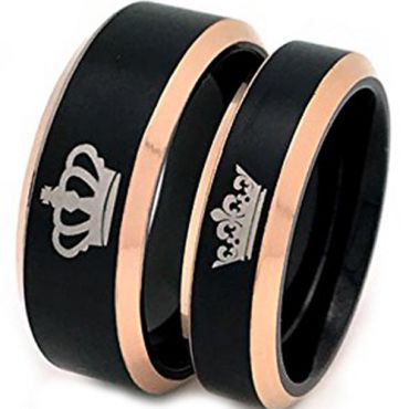 (Wholesale)Tungsten Carbide Black Rose King Queen Ring-4651