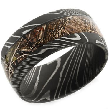 (Wholesale)Black Tungsten Carbide Camo Damascus Ring - TG4656