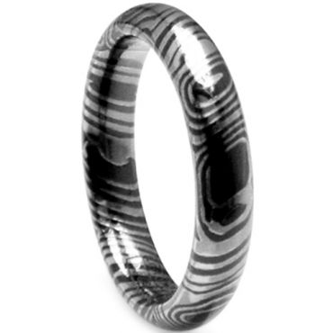 (Wholesale)Black Tungsten Carbide Damascus Ring - TG4661