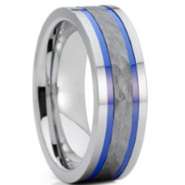 (Wholesale)Tungsten Carbide Hammered Abalone Shell Ring-4663