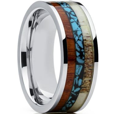 (Wholesale)Tungsten Carbide Imitate Turquoise Wood Antler Ring-4
