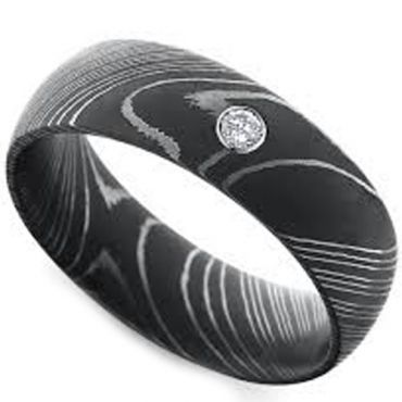 (Wholesale)Black Tungsten Carbide Damascus Ring With CZ-TG