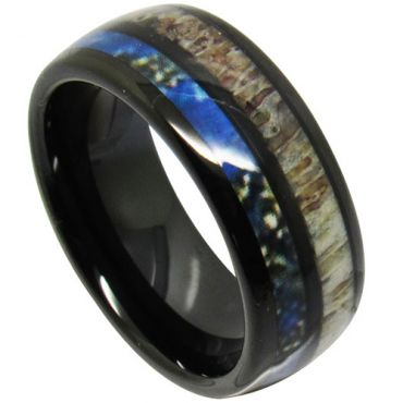 (Wholesale)Black Tungsten Carbide Deer Antler & Blue Wood Ring - TG4709