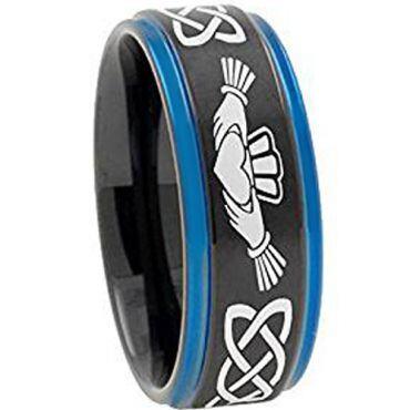 (Wholesale)Tungsten Carbide Black Blue Mo Anam Cara Ring-4722