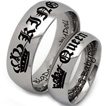 (Wholesale)Tungsten Carbide Dome King Queen Ring - TG4724
