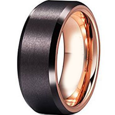 (Wholesale)Tungsten Carbide Black Rose  Beveled Edges Ring-4728