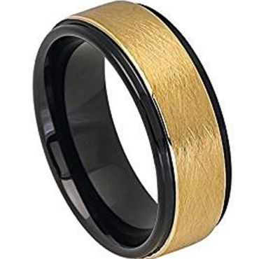 (Wholesale)Tungsten Carbide Black Gold Sandblasted Ring - TG4735