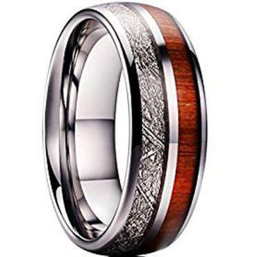 (Wholesale)Tungsten Carbide Imitate Meteorite Wood Ring-4739